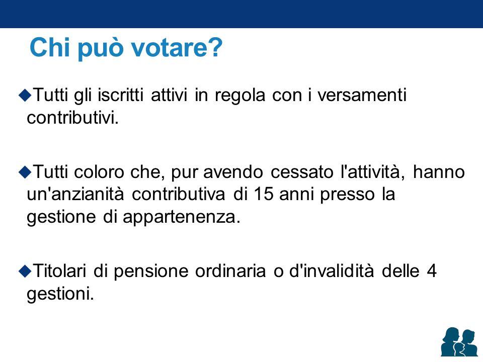 Chi può votare?  Tutti gli iscritti attivi in regola con i versamenti contributivi.  Tutti coloro che, pur avendo cessato l'attività, hanno un'anzia