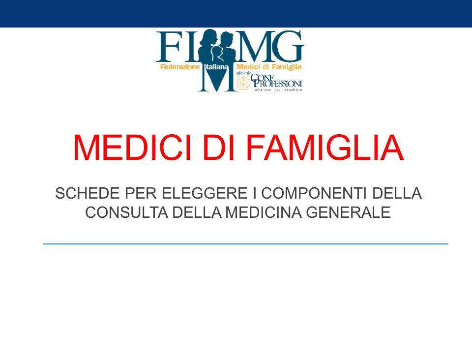 MEDICI DI FAMIGLIA SCHEDE PER ELEGGERE I COMPONENTI DELLA CONSULTA DELLA MEDICINA GENERALE