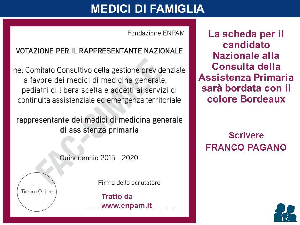 La scheda per il candidato Nazionale alla Consulta della Assistenza Primaria sarà bordata con il colore Bordeaux Scrivere FRANCO PAGANO MEDICI DI FAMI
