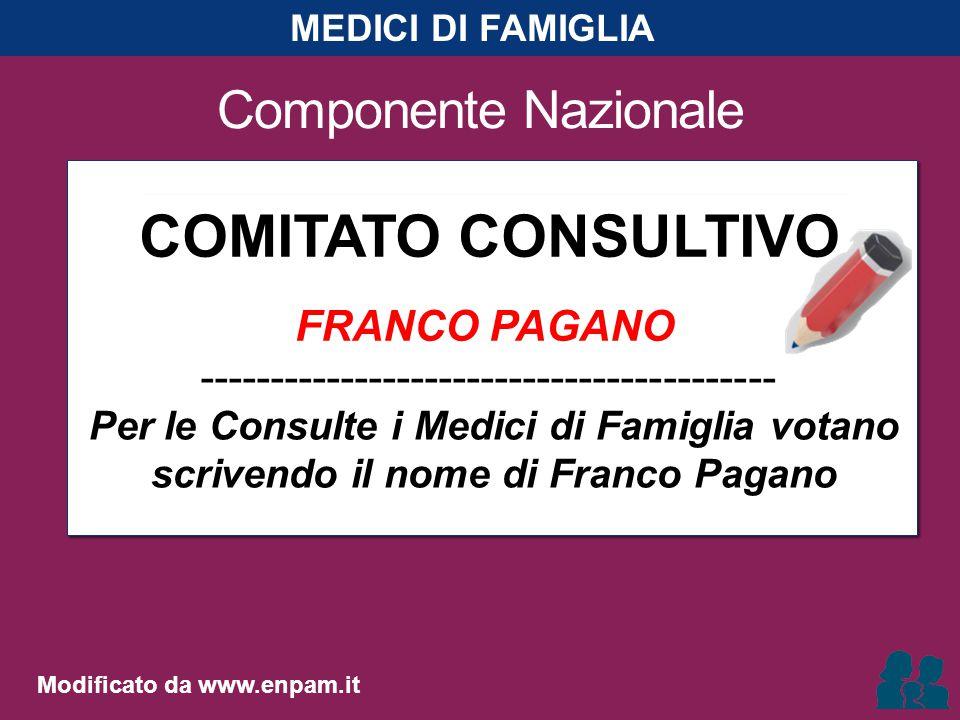 Componente Nazionale COMITATO CONSULTIVO FRANCO PAGANO ----------------------------------------- Per le Consulte i Medici di Famiglia votano scrivendo