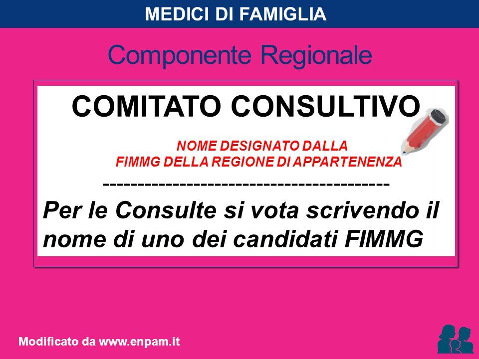 Componente Regionale COMITATO CONSULTIVO NOME DESIGNATO DALLA FIMMG DELLA REGIONE DI APPARTENENZA ----------------------------------------- Per le Con