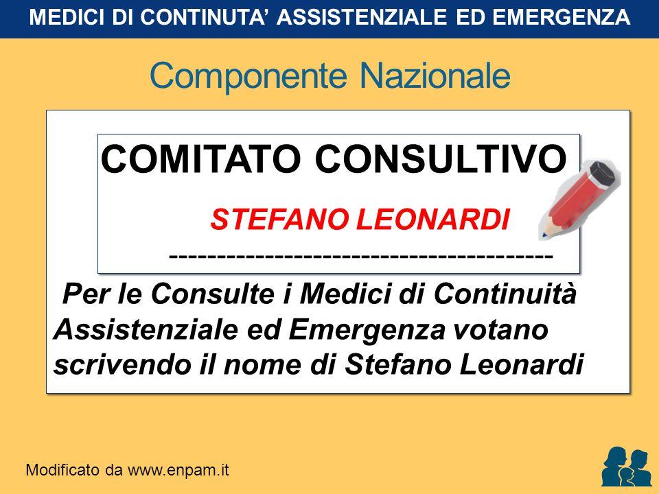 Componente Nazionale COMITATO CONSULTIVO STEFANO LEONARDI ---------------------------------------- Per le Consulte i Medici di Continuità Assistenzial