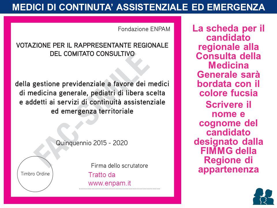 La scheda per il candidato regionale alla Consulta della Medicina Generale sarà bordata con il colore fucsia Scrivere il nome e cognome del candidato