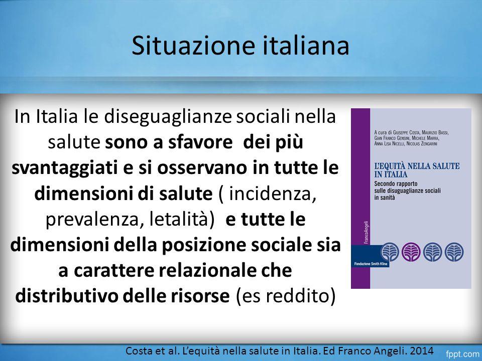 Situazione italiana In Italia le diseguaglianze sociali nella salute sono a sfavore dei più svantaggiati e si osservano in tutte le dimensioni di salute ( incidenza, prevalenza, letalità) e tutte le dimensioni della posizione sociale sia a carattere relazionale che distributivo delle risorse (es reddito) Costa et al.