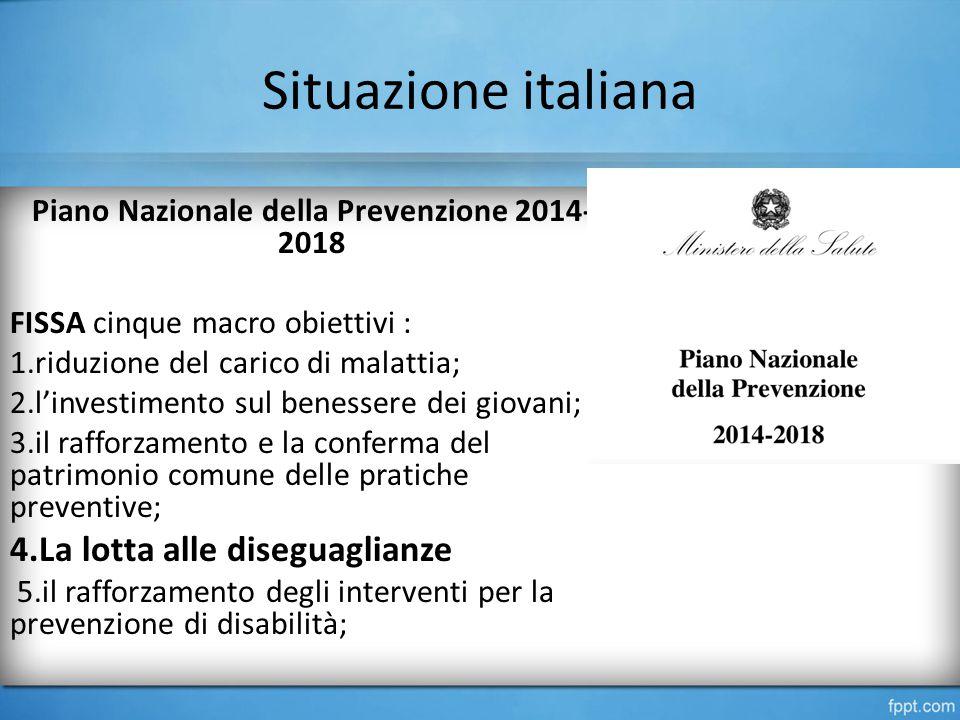 Situazione italiana Piano Nazionale della Prevenzione 2014- 2018 FISSA cinque macro obiettivi : 1.riduzione del carico di malattia; 2.l'investimento sul benessere dei giovani; 3.il rafforzamento e la conferma del patrimonio comune delle pratiche preventive; 4.La lotta alle diseguaglianze 5.il rafforzamento degli interventi per la prevenzione di disabilità;