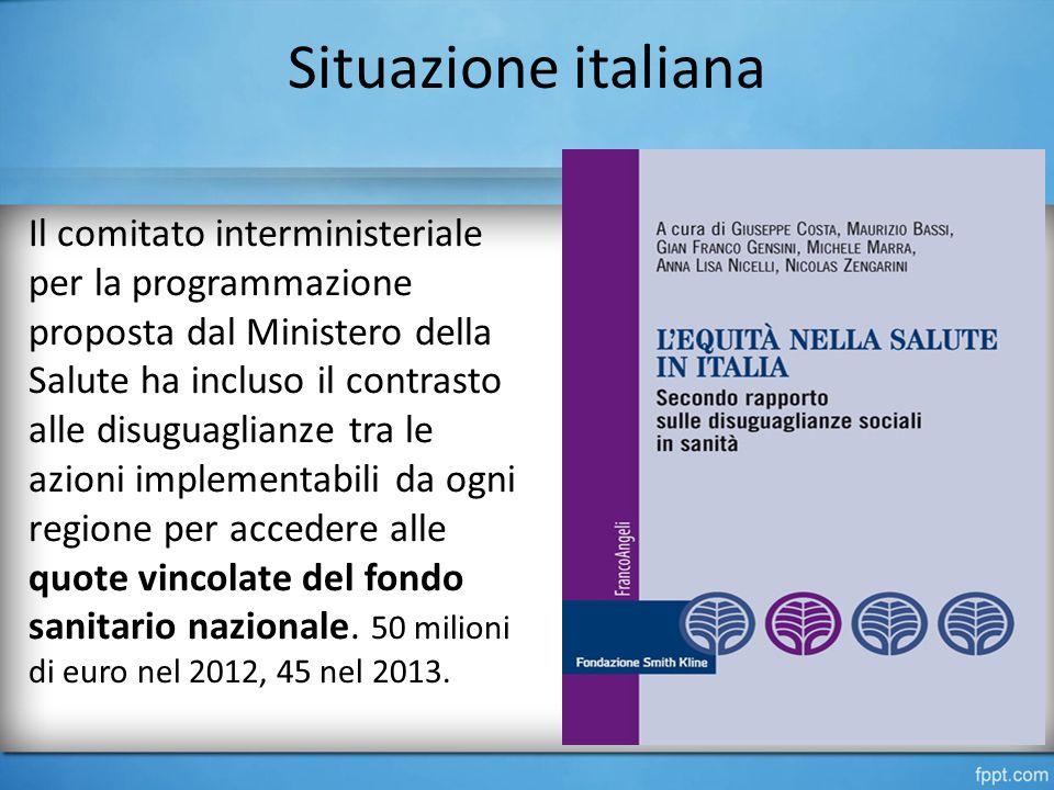 Situazione italiana Il comitato interministeriale per la programmazione proposta dal Ministero della Salute ha incluso il contrasto alle disuguaglianze tra le azioni implementabili da ogni regione per accedere alle quote vincolate del fondo sanitario nazionale.