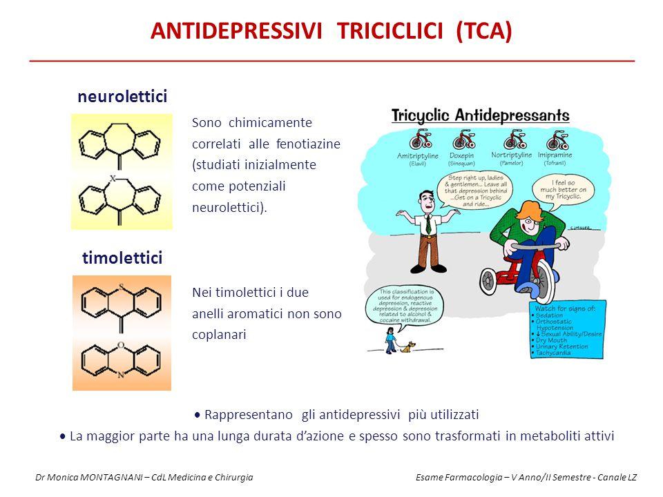 ANTIDEPRESSIVI TRICICLICI (TCA)  Rappresentano gli antidepressivi più utilizzati  La maggior parte ha una lunga durata d'azione e spesso sono trasformati in metaboliti attivi neurolettici timolettici Sono chimicamente correlati alle fenotiazine (studiati inizialmente come potenziali neurolettici).