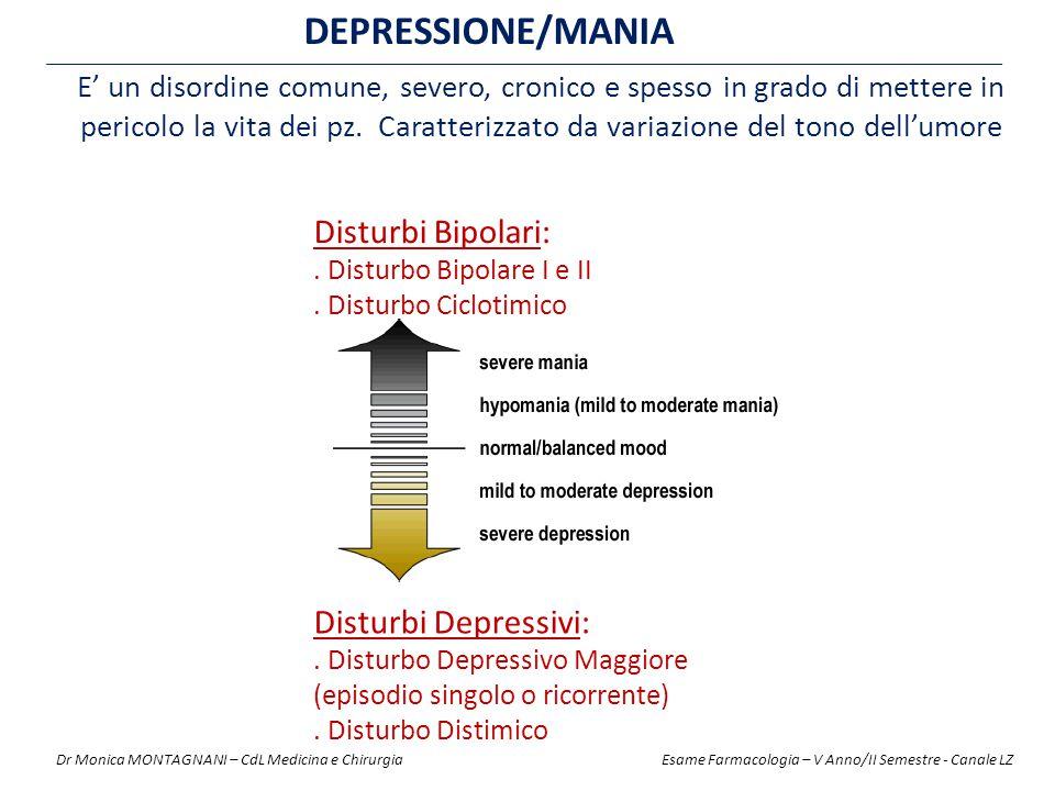 DEPRESSIONE/MANIA E' un disordine comune, severo, cronico e spesso in grado di mettere in pericolo la vita dei pz.
