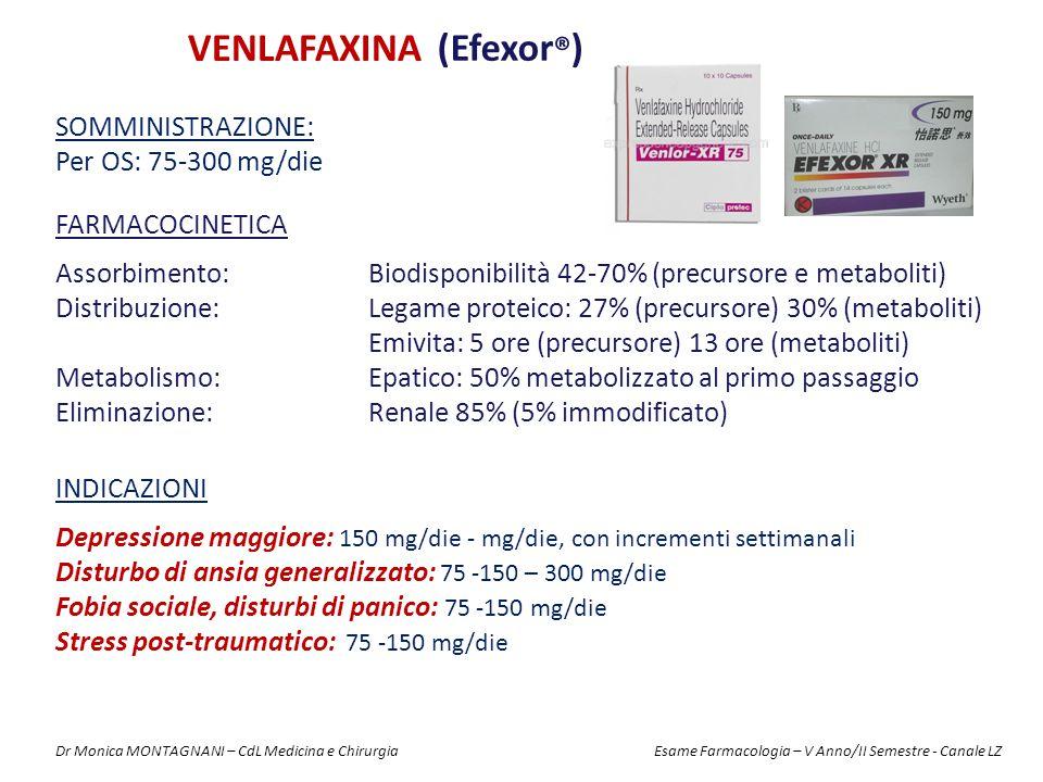 VENLAFAXINA (Efexor ® ) FARMACOCINETICA Assorbimento: Biodisponibilità 42-70% (precursore e metaboliti) Distribuzione: Legame proteico: 27% (precursore) 30% (metaboliti) Emivita: 5 ore (precursore) 13 ore (metaboliti) Metabolismo: Epatico: 50% metabolizzato al primo passaggio Eliminazione: Renale 85% (5% immodificato) SOMMINISTRAZIONE: Per OS: 75-300 mg/die INDICAZIONI Depressione maggiore: 150 mg/die - mg/die, con incrementi settimanali Disturbo di ansia generalizzato: 75 -150 – 300 mg/die Fobia sociale, disturbi di panico: 75 -150 mg/die Stress post-traumatico: 75 -150 mg/die Dr Monica MONTAGNANI – CdL Medicina e Chirurgia Esame Farmacologia – V Anno/II Semestre - Canale LZ