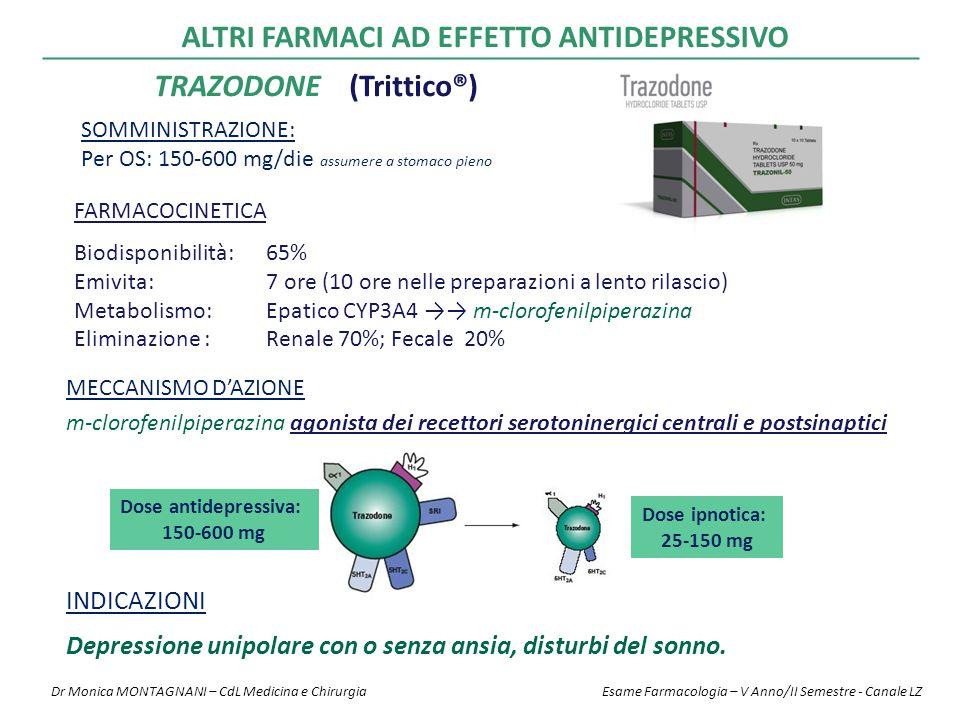 TRAZODONE FARMACOCINETICA Biodisponibilità: 65% Emivita: 7 ore (10 ore nelle preparazioni a lento rilascio) Metabolismo: Epatico CYP3A4 →→ m-clorofenilpiperazina Eliminazione :Renale 70%; Fecale 20% SOMMINISTRAZIONE: Per OS: 150-600 mg/die assumere a stomaco pieno MECCANISMO D'AZIONE m-clorofenilpiperazina agonista dei recettori serotoninergici centrali e postsinaptici INDICAZIONI Depressione unipolare con o senza ansia, disturbi del sonno.