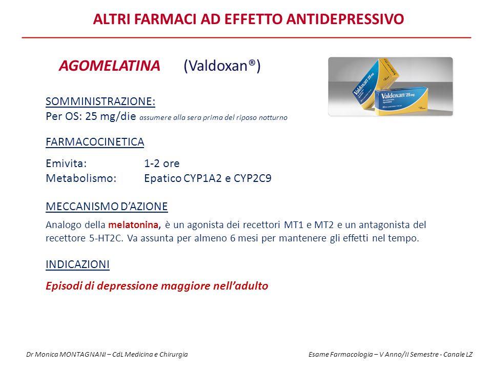ALTRI FARMACI AD EFFETTO ANTIDEPRESSIVO AGOMELATINA(Valdoxan®) FARMACOCINETICA Emivita: 1-2 ore Metabolismo: Epatico CYP1A2 e CYP2C9 MECCANISMO D'AZIONE Analogo della melatonina, è un agonista dei recettori MT1 e MT2 e un antagonista del recettore 5-HT2C.