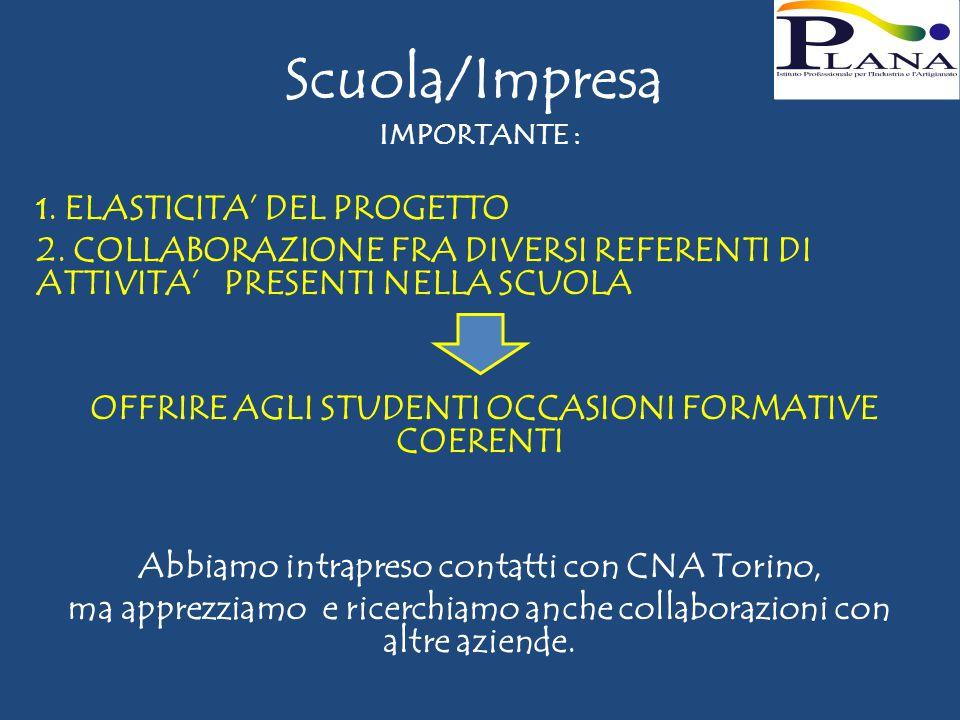 Scuola/Impresa IMPORTANTE : 1. ELASTICITA' DEL PROGETTO 2.