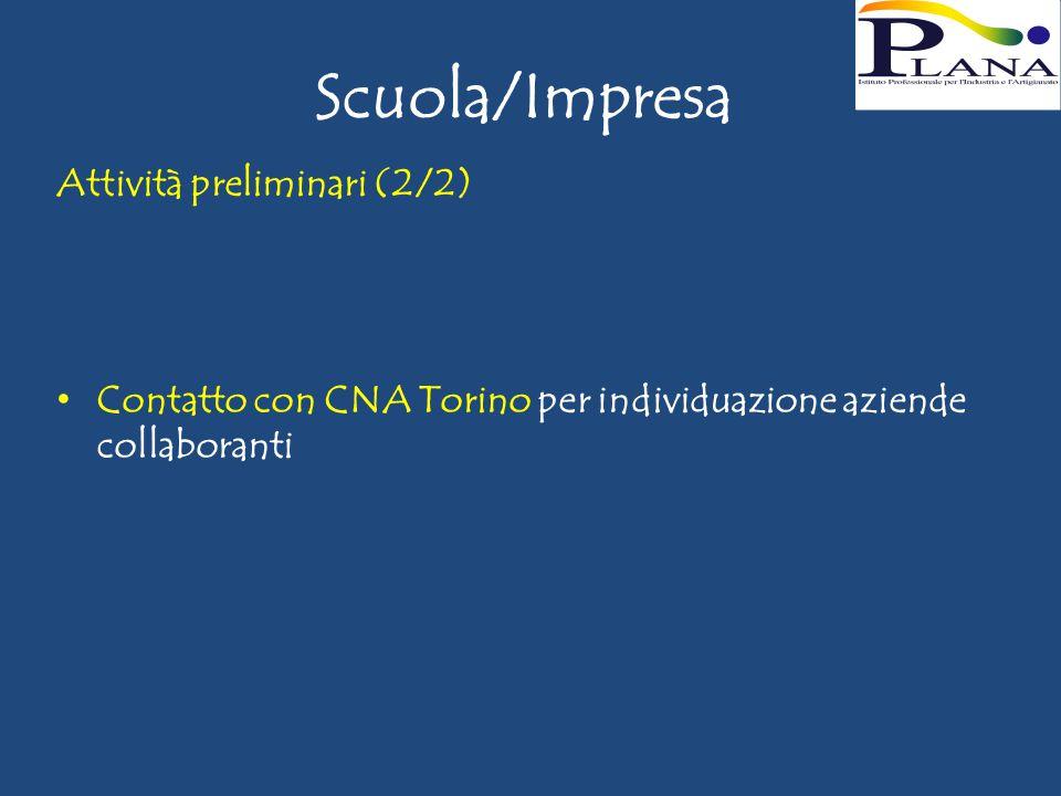 Scuola/Impresa Attività preliminari (2/2) Contatto con CNA Torino per individuazione aziende collaboranti