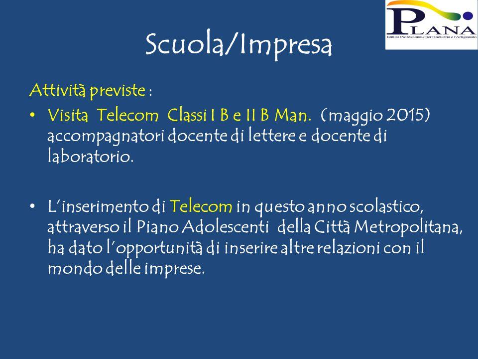Scuola/Impresa Attività previste : Visita Telecom Classi I B e II B Man.