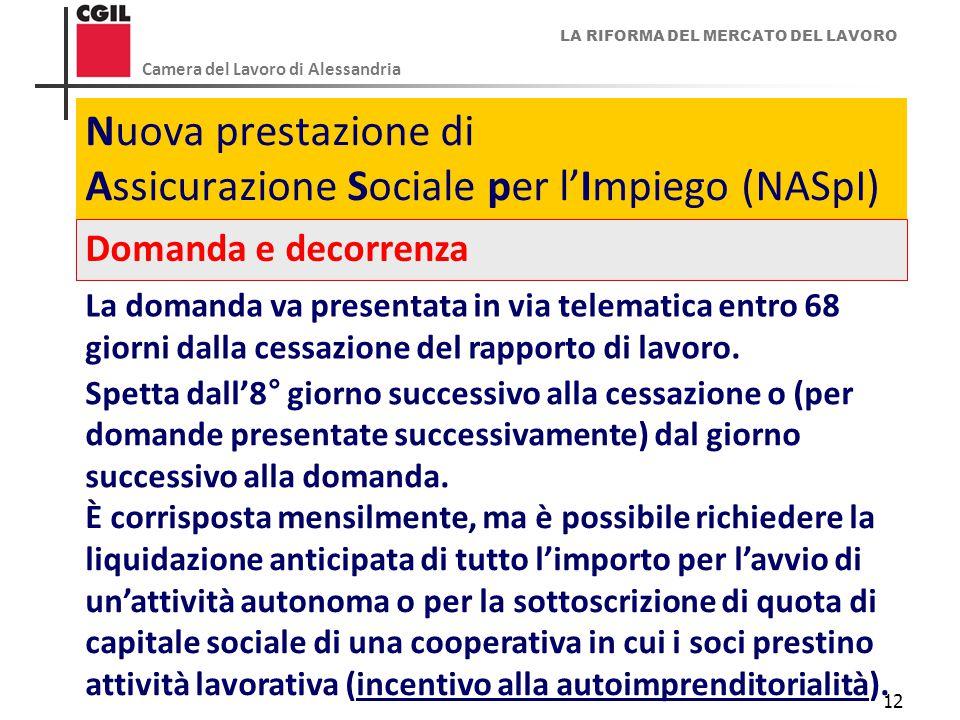 LA RIFORMA DEL MERCATO DEL LAVORO Camera del Lavoro di Alessandria 12 Nuova prestazione di Assicurazione Sociale per l'Impiego (NASpI) Domanda e decor