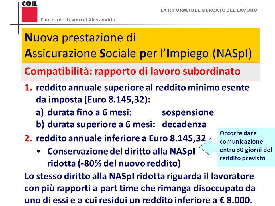 LA RIFORMA DEL MERCATO DEL LAVORO Camera del Lavoro di Alessandria 13 Nuova prestazione di Assicurazione Sociale per l'Impiego (NASpI) Compatibilità: