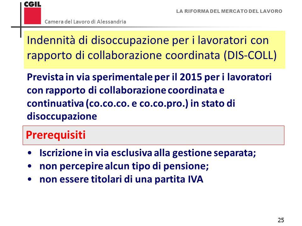 LA RIFORMA DEL MERCATO DEL LAVORO Camera del Lavoro di Alessandria 25 Indennità di disoccupazione per i lavoratori con rapporto di collaborazione coor
