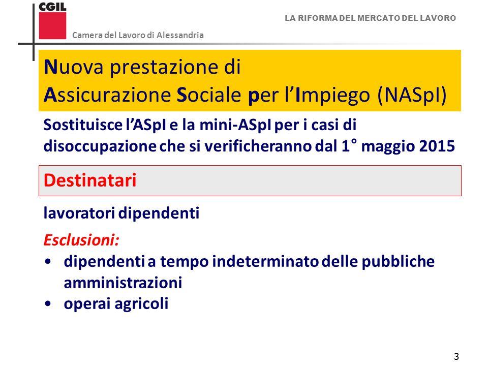 LA RIFORMA DEL MERCATO DEL LAVORO Camera del Lavoro di Alessandria 3 Nuova prestazione di Assicurazione Sociale per l'Impiego (NASpI) Sostituisce l'AS