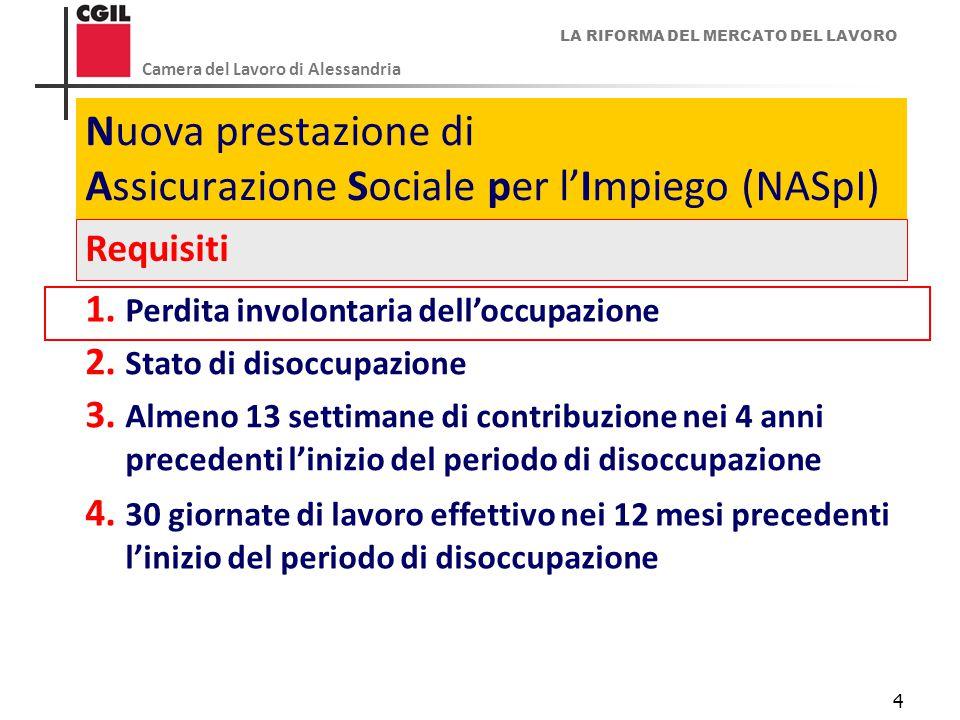 LA RIFORMA DEL MERCATO DEL LAVORO Camera del Lavoro di Alessandria 4 Nuova prestazione di Assicurazione Sociale per l'Impiego (NASpI) Requisiti 1. Per
