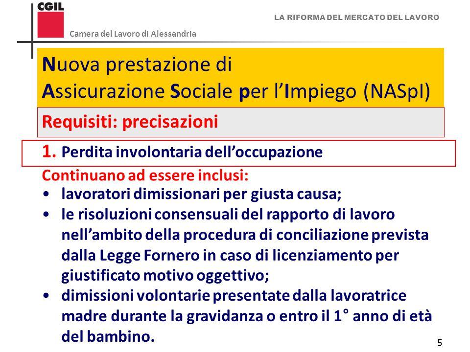 LA RIFORMA DEL MERCATO DEL LAVORO Camera del Lavoro di Alessandria 5 Nuova prestazione di Assicurazione Sociale per l'Impiego (NASpI) Requisiti: preci