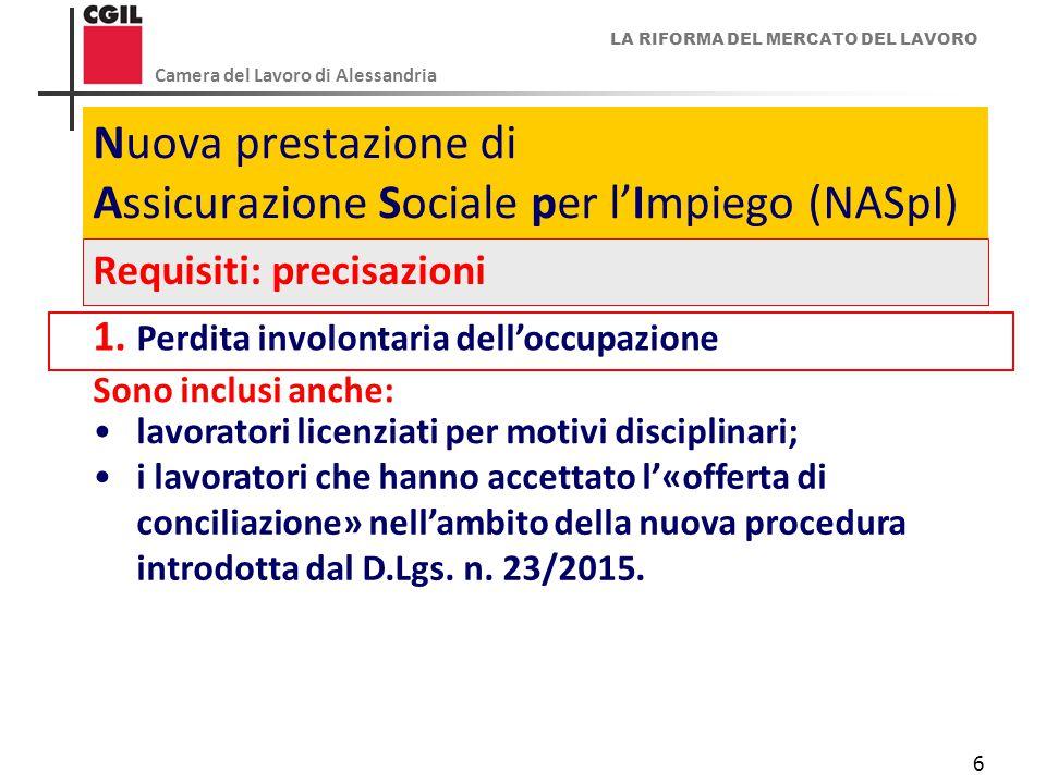 LA RIFORMA DEL MERCATO DEL LAVORO Camera del Lavoro di Alessandria 6 Nuova prestazione di Assicurazione Sociale per l'Impiego (NASpI) Requisiti: preci