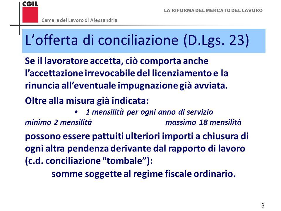 LA RIFORMA DEL MERCATO DEL LAVORO Camera del Lavoro di Alessandria 8 L'offerta di conciliazione (D.Lgs. 23) Se il lavoratore accetta, ciò comporta anc