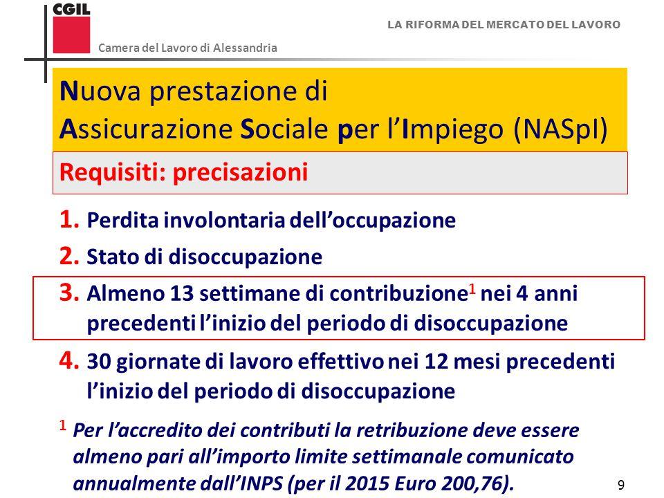 LA RIFORMA DEL MERCATO DEL LAVORO Camera del Lavoro di Alessandria 9 Nuova prestazione di Assicurazione Sociale per l'Impiego (NASpI) Requisiti: preci