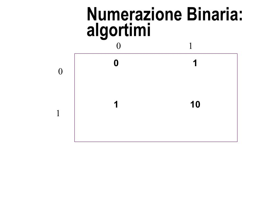 Numerazione Binaria: algortimi 01 110 0 1 01
