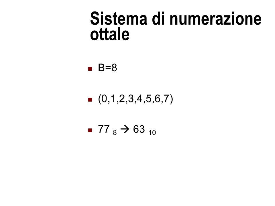 Sistema di numerazione ottale B=8 (0,1,2,3,4,5,6,7) 77 8  63 10