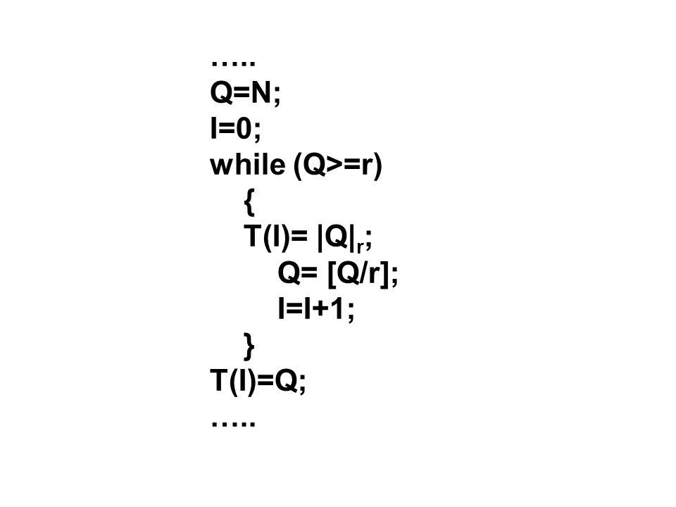 ….. Q=N; I=0; while (Q>=r) { T(I)= |Q| r ; Q= [Q/r]; I=I+1; } T(I)=Q; …..