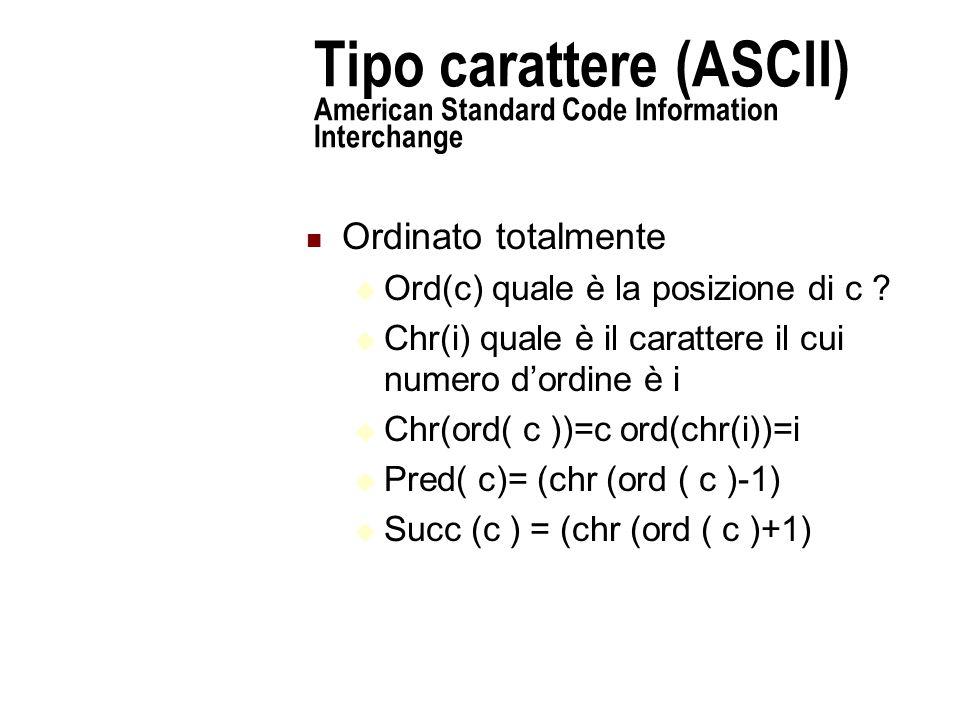 Tipo carattere (ASCII) American Standard Code Information Interchange Ordinato totalmente  Ord(c) quale è la posizione di c .