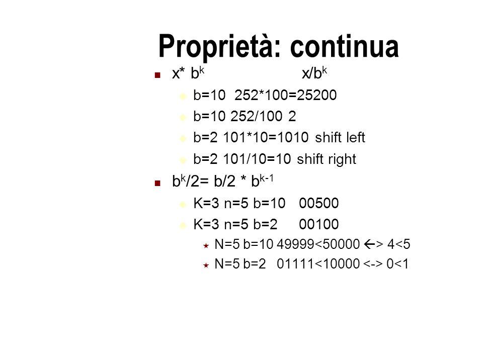 Proprietà: continua x* b k x/b k  b=10 252*100=25200  b=10 252/100 2  b=2 101*10=1010 shift left  b=2 101/10=10 shift right b k /2= b/2 * b k-1  K=3 n=5 b=10 00500  K=3 n=5 b=2 00100  N=5 b=10 49999 4<5  N=5 b=2 01111 0<1