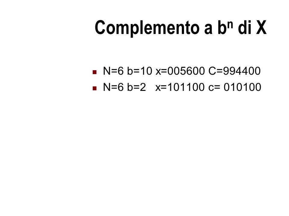 Complemento a b n di X N=6 b=10 x=005600 C=994400 N=6 b=2 x=101100 c= 010100