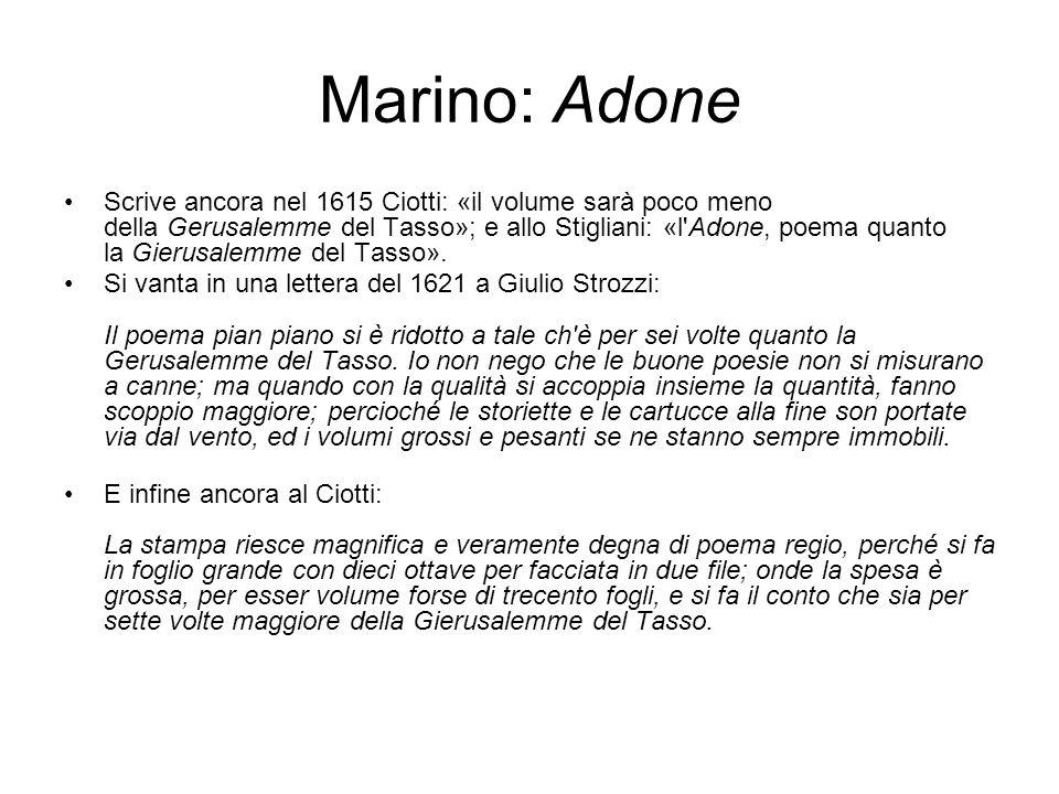 Marino: Adone Scrive ancora nel 1615 Ciotti: «il volume sarà poco meno della Gerusalemme del Tasso»; e allo Stigliani: «l'Adone, poema quanto la Gieru