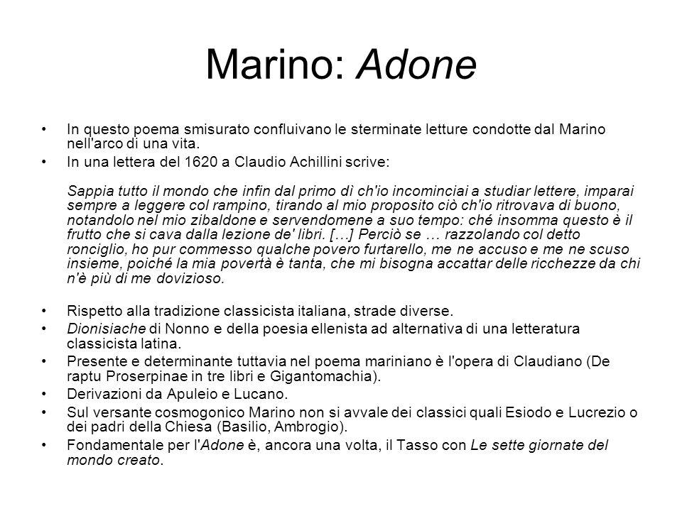 Marino: Adone In questo poema smisurato confluivano le sterminate letture condotte dal Marino nell'arco di una vita. In una lettera del 1620 a Claudio