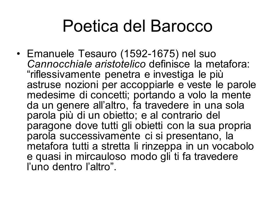 """Poetica del Barocco Emanuele Tesauro (1592-1675) nel suo Cannocchiale aristotelico definisce la metafora: """"riflessivamente penetra e investiga le più"""