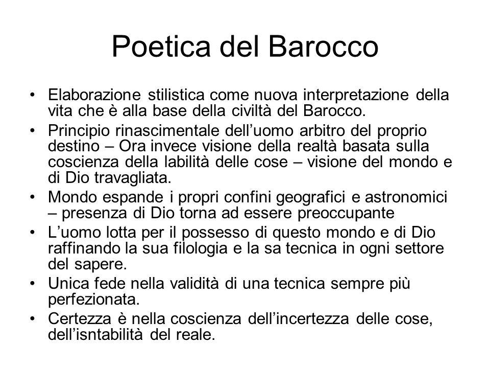 Poetica del Barocco Elaborazione stilistica come nuova interpretazione della vita che è alla base della civiltà del Barocco. Principio rinascimentale