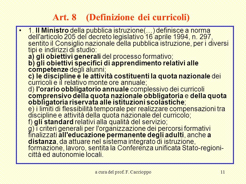 a cura del prof. F. Caccioppo11 Art. 8 (Definizione dei curricoli) 1. Il Ministro della pubblica istruzione(…) definisce a norma dell'articolo 205 del