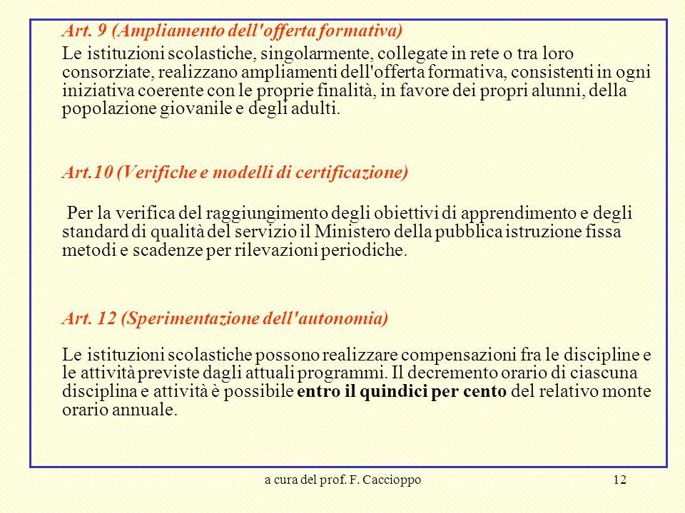 a cura del prof. F. Caccioppo12 Art. 9 (Ampliamento dell'offerta formativa) Le istituzioni scolastiche, singolarmente, collegate in rete o tra loro co