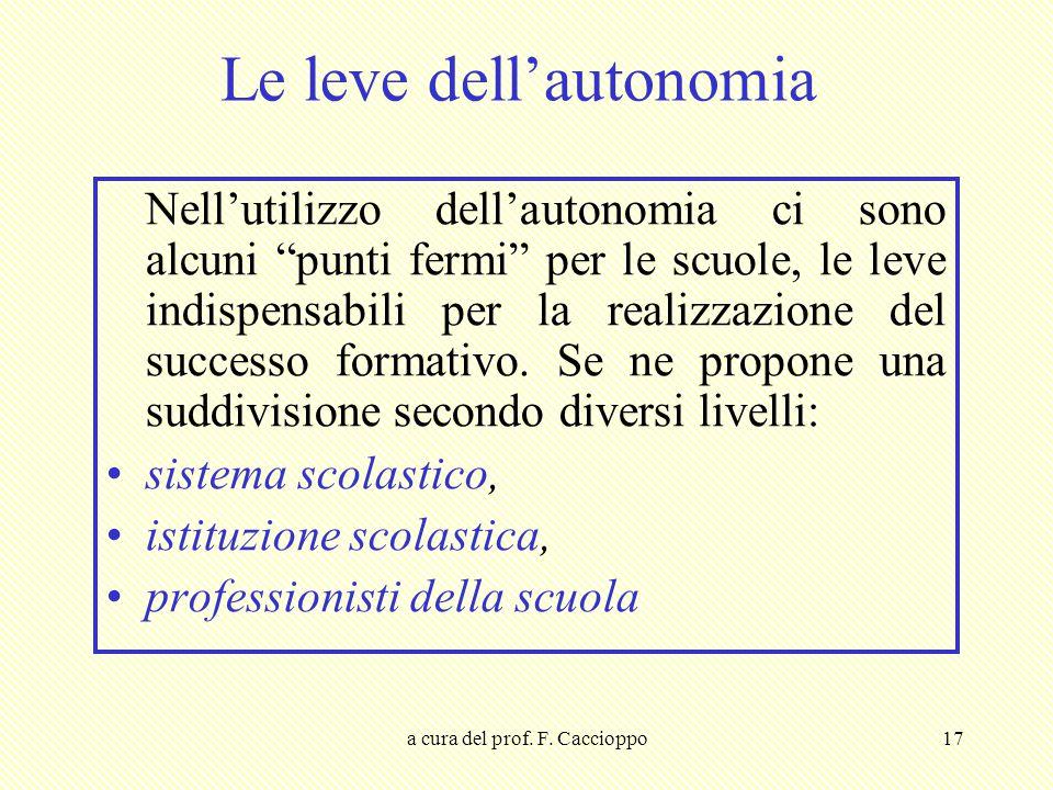 """a cura del prof. F. Caccioppo17 Le leve dell'autonomia Nell'utilizzo dell'autonomia ci sono alcuni """"punti fermi"""" per le scuole, le leve indispensabili"""