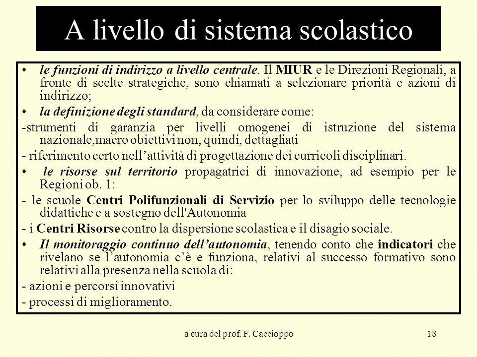 a cura del prof. F. Caccioppo18 A livello di sistema scolastico le funzioni di indirizzo a livello centrale. Il MIUR e le Direzioni Regionali, a front