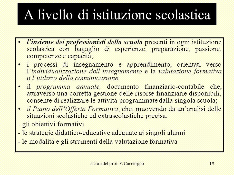 a cura del prof. F. Caccioppo19 l'insieme dei professionisti della scuola presenti in ogni istituzione scolastica con bagaglio di esperienze, preparaz