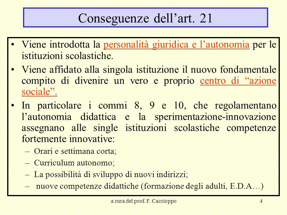 a cura del prof. F. Caccioppo4 Conseguenze dell'art. 21 Viene introdotta la personalità giuridica e l'autonomia per le istituzioni scolastiche. Viene