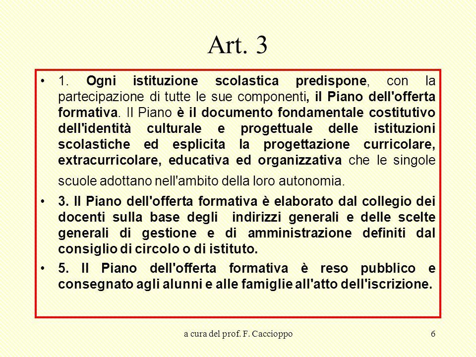 a cura del prof. F. Caccioppo6 Art. 3 1. Ogni istituzione scolastica predispone, con la partecipazione di tutte le sue componenti, il Piano dell'offer