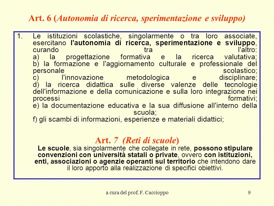 a cura del prof. F. Caccioppo9 Art. 6 (Autonomia di ricerca, sperimentazione e sviluppo) 1.Le istituzioni scolastiche, singolarmente o tra loro associ