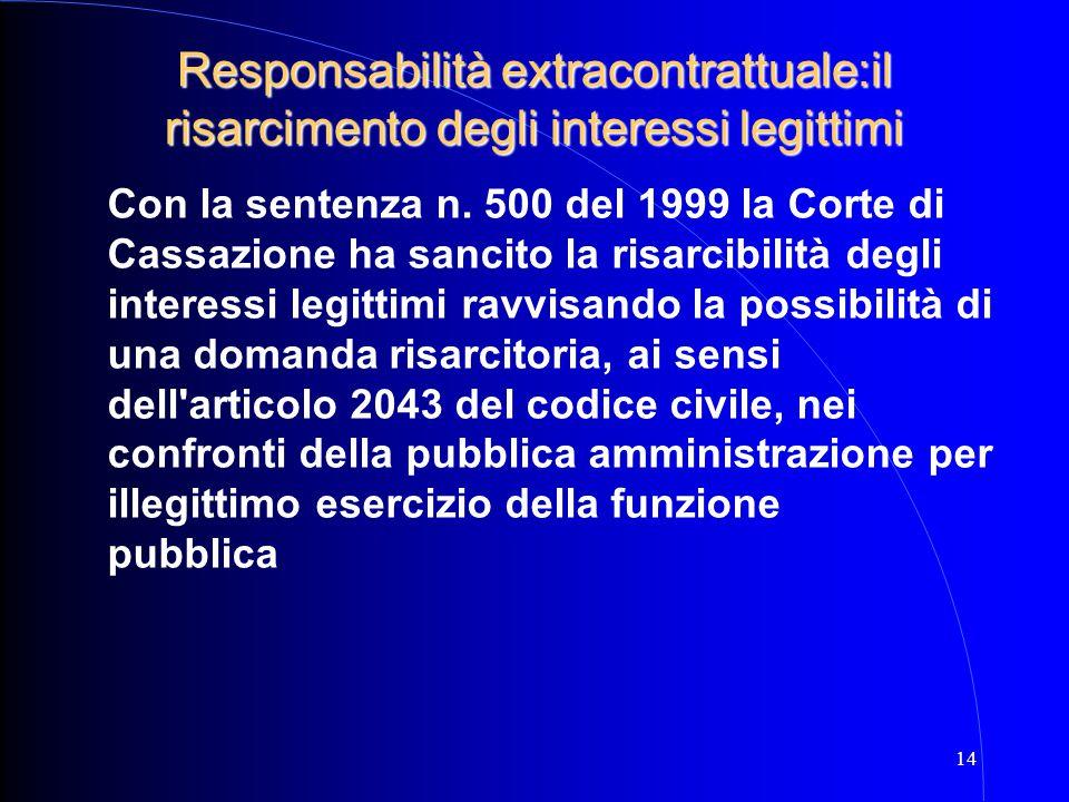 14 Con la sentenza n. 500 del 1999 la Corte di Cassazione ha sancito la risarcibilità degli interessi legittimi ravvisando la possibilità di una doman