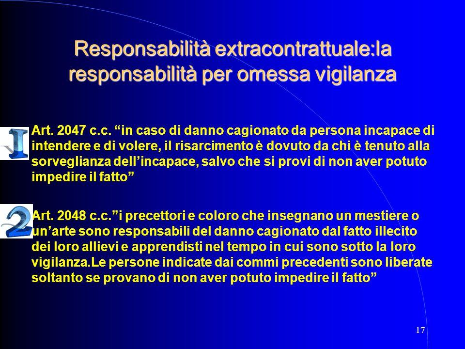 """17 Responsabilità extracontrattuale:la responsabilità per omessa vigilanza Art. 2047 c.c. """"in caso di danno cagionato da persona incapace di intendere"""