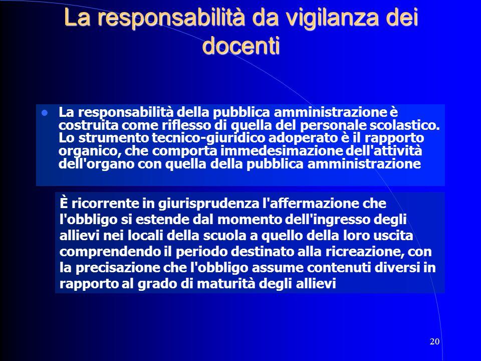 20 La responsabilità della pubblica amministrazione è costruita come riflesso di quella del personale scolastico. Lo strumento tecnico-giuridico adope
