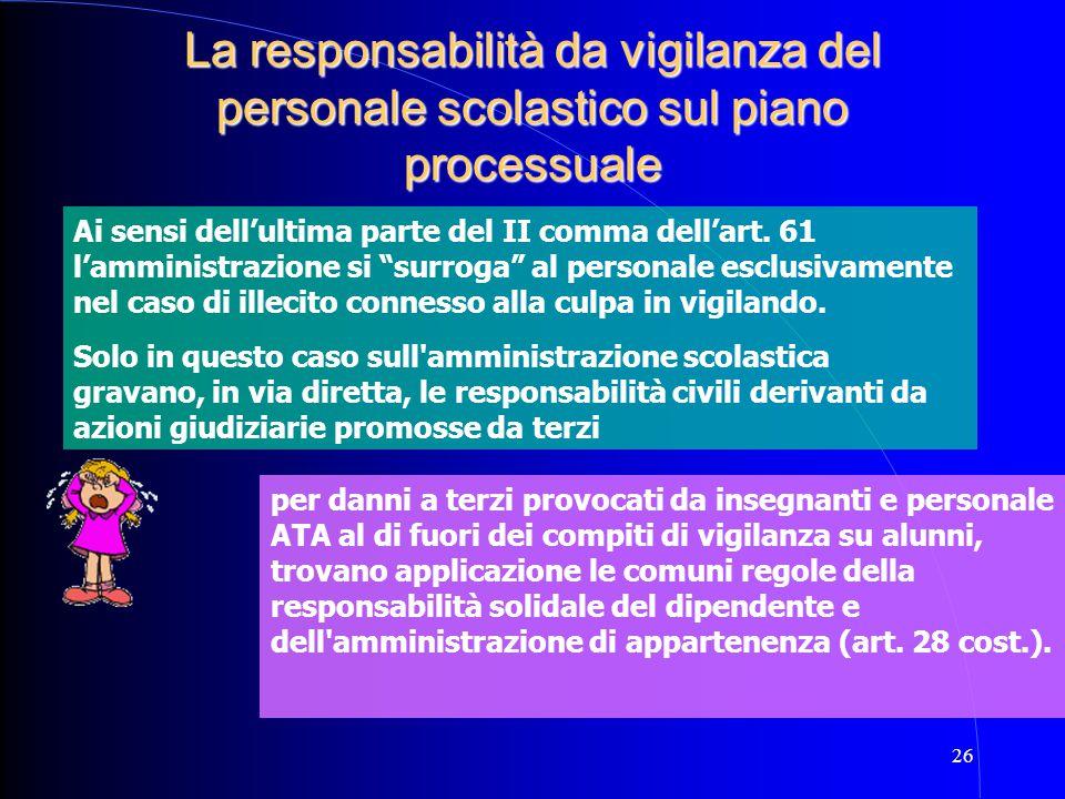 26 La responsabilità da vigilanza del personale scolastico sul piano processuale Ai sensi dell'ultima parte del II comma dell'art. 61 l'amministrazion