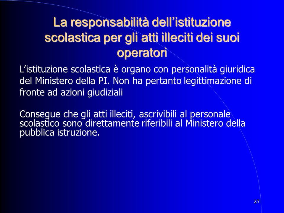 27 La responsabilità dell'istituzione scolastica per gli atti illeciti dei suoi operatori L'istituzione scolastica è organo con personalità giuridica